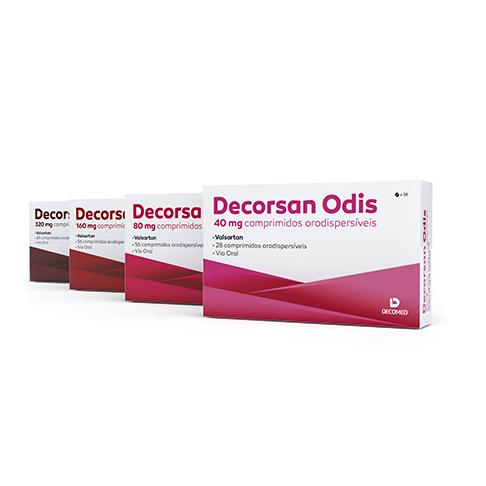Embalagens comprimidos orodispersíveis 40mg, 80mg, 160mg 330mg Decorsan Odis Decomed