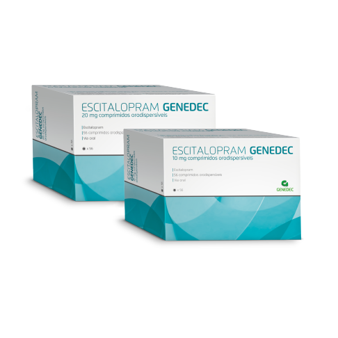 Embalagens 56 comprimidos orodispersíveis Escitalopram 10mg e 20mg Genedec Decomed
