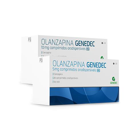 Embalagens 28 comprimidos orodispersíveis 5mg e 10mg Olanzapina Genedec Decomed
