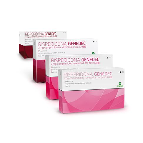 Embalagens 60 comprimidos 1mg 2mg 3mg e 4mg Risperidona Genedec Decomed